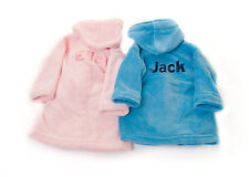 Personalised Embroidered Front & Back Baby Whale Hooded Bath Robe Dressing Gown