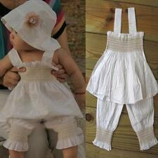 3pcs Baby Girl Kid Ruffle Top+Pants+Hat Set Outfit Clothes Costume Size 0-3Y E21