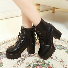 2014 Punk Rock Fashion Womens Ankle Boots Lace Up Round Toe Platform Wedge Shoes