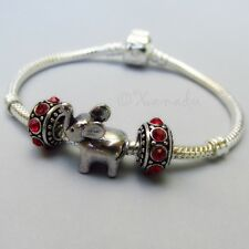 Elephant European Starter Charm Bracelet With Large Hole Birthstone Spacer Beads