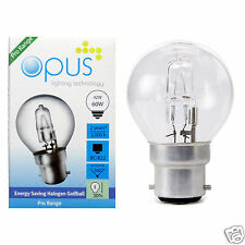 Opus Eco Halogen Energy Saving Golf Ball Light Bulbs 42w=60w E14 B22 E27 B15 Cap