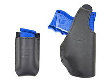 New Barsony Black Leather OWB Holster + Mag Pouch for Walther Compact 9mm 40 45