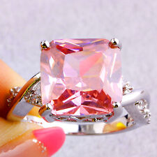 Saucy Pink White Topaz Gemstone Silver Jewelry Fashion Women Ring Size 7 8 9 10