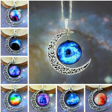 2014 Stylish Women Galaxy Universe Crescent Moon Glass Cabochon Pendant Necklace