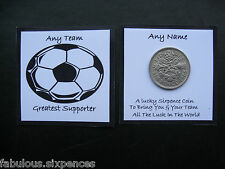 Football Lucky Sixpence Any Name /Team * FULLY PERSONALISED  Black & White Ball