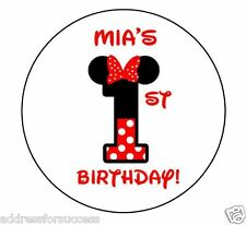 24 Personalized Minnie Mouse Birthday Favor Stickers Party Favors Bags