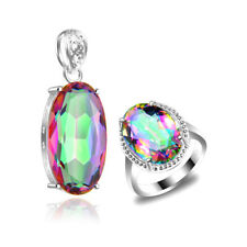 NICE Gift Water Drop Rainbow Mystical Topaz Gems Silver Pendant Ring Jewelry SET