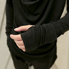 New Men Gloves Black O-neck Layered Tee Long Sleeve Punk Slim Dance T-shirt Tops