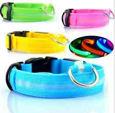 LED Dog Collar Flashing Adjustable Tag Luminous Pet Nylon 6 Colors