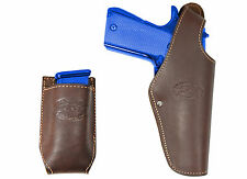 New Barsony Brown Leather Belt OWB Holster + Mag Pouch Colt Full Size 9mm 40 45