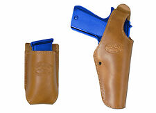 New Barsony Saddle Tan Leather OWB Holster + Mag Pouch Colt Full Size 9mm 40 45