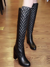 Womens Knee High Boots Crack Leather Thick Heel Motor Side Zip Chic Fashion Shoe