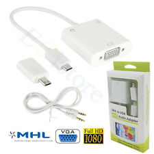 Micro MHL To VGA 1080P Adapter + Audio Cable Phone Tablet To PC LCD TV Projector