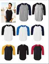 New Men USA ALSTYLE 3/4 Sleeve Plain Baseball T-Shirt S-2XL RAGLAN VINTAGE TEE