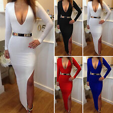 Women Bandage Bodycon Split Long Sleeve Sexy Party Cocktail Deep V Formal Dress