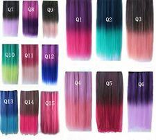 Fashion Colorful Hair Extensions Straight 3/4 Full Head Clip