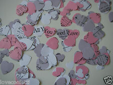 All You Need Is Love CONFETTI in ANY COLOUR for Wedding or 1960's Beatles Party