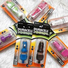 DURACELL 2.1A DUAL Mini USB Car Charger w/ Sync & Charge Cable APPLE 30-pin