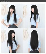 New Fashion Women Sexy Long Straight Black Hair Cosplay Party Full Wig