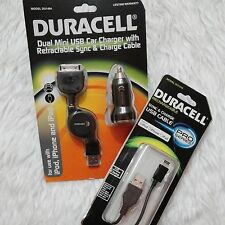 DURACELL 2.1A Twin USB Car Charger Retractable 30-pin Cable + Lighting Cable