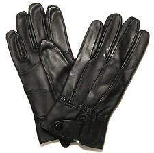 Womens Leather Gloves Black Driving Soft Comfort Ladies [BUTTON FLAP WRIST]
