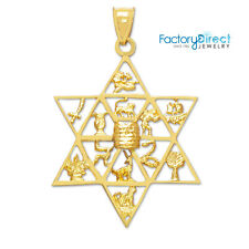 Star of David with Twelve Tribes of Israel Gold Pendant