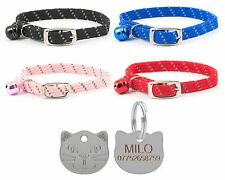 ANCOL Cat Collar Reflective Elasticated Softweave, With Free Engraved Cat ID Tag