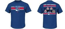 New York Rangers MENS Shirt History Vintage Logo T-Shirt Blue by Majestic