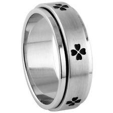 Stainless Steel Good Luck Four Leaf Clover Design Spinner Band Ring Sizes 9-14