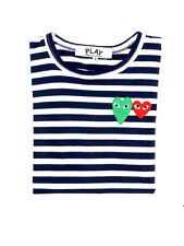 COMME DES GARCONS CDG PLAY STRIPED LONG SLEEVE DARK BLUE Green Red HEART
