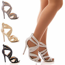 LADIES WOMENS HIGH HEEL CUT OUT EVENING PARTY SANDALS  FORMAL PEEP TOE SHOE SIZE