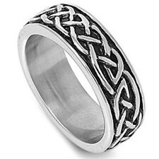 Stainless Steel Biker Tribal Barb Wire Tattoo Design Band Men's Ring Size 7-14