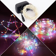 10M 33ft 100 Lamps Copper Wire XMAS Party String LED Decor Strip Lights + Power