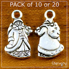 BULK Santa charms ~ Father Christmas Claus pendant xmas decoration bead silver