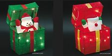 ANIMATED SANTA OR SNOWMAN LIGHTED GIFT BOX OUTDOOR CHRISTMAS DECORATION NEW