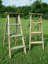 Vintage Wooden 4 Step Ladder for Decorating - Wood Surface or Painted Ladders