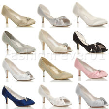 WOMENS LADIES LOW KITTEN HEEL WEDDING EVENING PARTY PEEPTOE SHOES SANDALS SIZE