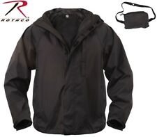 Black Tactical Waterproof Packable Outerwear Rain Jacket 3754 #2
