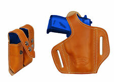 NEW Barsony Tan Leather Pancake Gun Holster + Mag Pouch Beretta Taurus 22 25 380