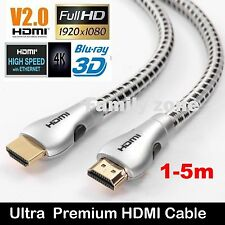 Ultra Superior Premium HDMI Cable V2.0 Gold Plated 3D High Speed  Ethernet