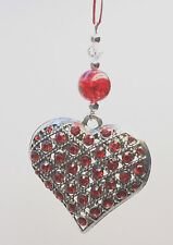 Christmas Tree Ornament Decoration Silver STUDDED Heart with Swarovski Crystal