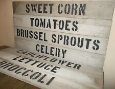 "PRIMITIVE 30"" WOOD Produce Farm Stand Sign Country Kitchen Garden Deco Food Sign"