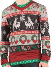 Funny Ugly Christmas Sweater Frisky Deer Unisex Mens Womens Shirt Snowflakes
