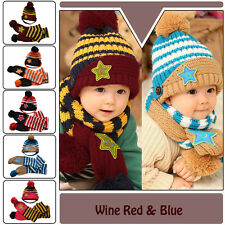 Unisex Toddler Infant Baby Girl Boy Knitted Winter Crochet Hat Beanie Cap Scarf