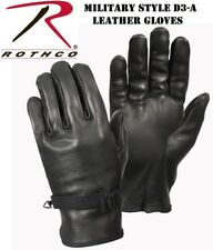 Black D-3A Type Military Style Leather Work Gloves 3383