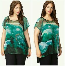 Forever 21+ Plus Size Hi-low sheer black green galaxy Top Shirt Blouse1X