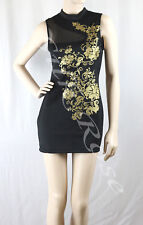 WOMENS CLOTHING SEXY BLACK PARTY DRESS WITH GOLD FLOWER PRINT INCL PLUS SIZES