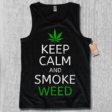 Tank Top - KEEP CALM AND SMOKE WEED - CULT Cannabis legalize DOPE S M L XL XXL