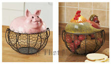 Farm Friend Wire Kitchen Storage Basket Fruit Vegetable Eggs Rooster Pig NEW