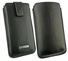 Original Hugo Boss Black Leather Case Cover Pouch Pull Tab fits Sony Xperia M /J